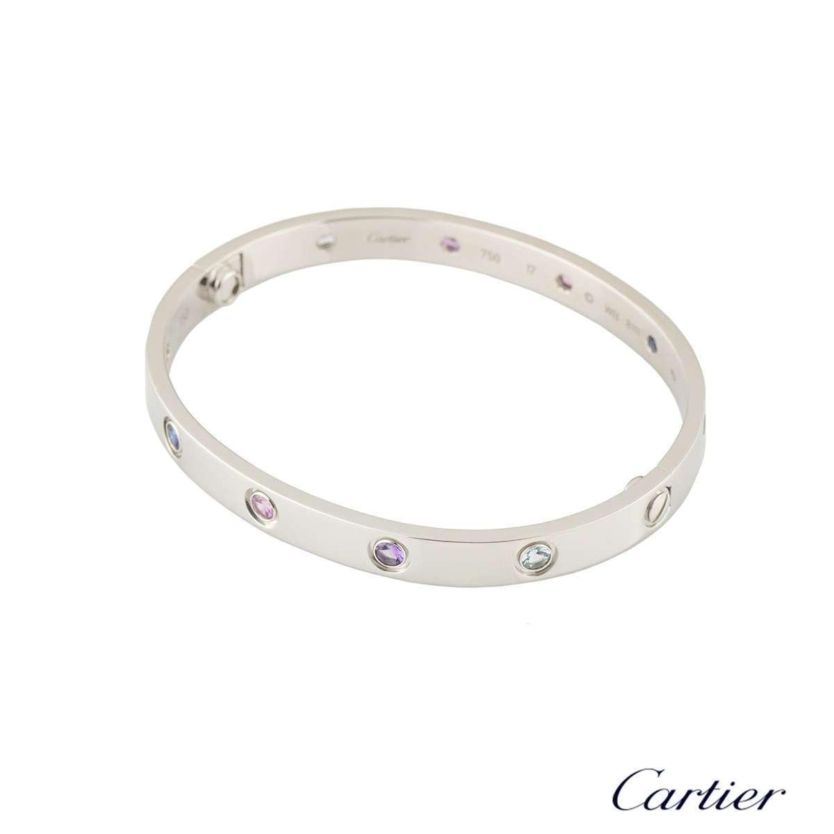 Cartier White Gold Coloured Stones Love Bracelet Size 17 B6036317